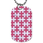 PUZZLE1 WHITE MARBLE & PINK DENIM Dog Tag (Two Sides) Front