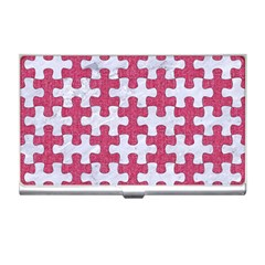 Puzzle1 White Marble & Pink Denim Business Card Holders