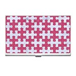 PUZZLE1 WHITE MARBLE & PINK DENIM Business Card Holders Front