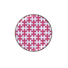 Puzzle1 White Marble & Pink Denim Hat Clip Ball Marker (4 Pack)