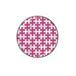 PUZZLE1 WHITE MARBLE & PINK DENIM Hat Clip Ball Marker (4 pack) Front
