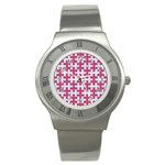 PUZZLE1 WHITE MARBLE & PINK DENIM Stainless Steel Watch Front