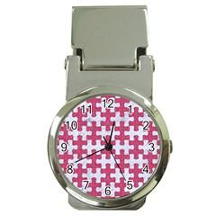 Puzzle1 White Marble & Pink Denim Money Clip Watches