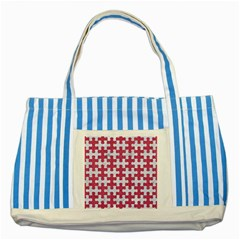 Puzzle1 White Marble & Pink Denim Striped Blue Tote Bag