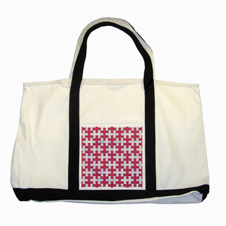 PUZZLE1 WHITE MARBLE & PINK DENIM Two Tone Tote Bag