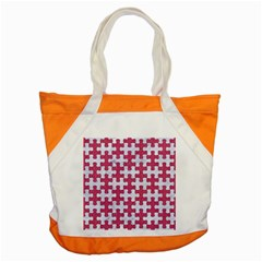 Puzzle1 White Marble & Pink Denim Accent Tote Bag