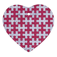 Puzzle1 White Marble & Pink Denim Heart Ornament (two Sides)