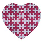 PUZZLE1 WHITE MARBLE & PINK DENIM Heart Ornament (Two Sides) Back