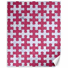 Puzzle1 White Marble & Pink Denim Canvas 16  X 20