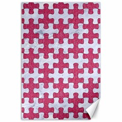 Puzzle1 White Marble & Pink Denim Canvas 24  X 36