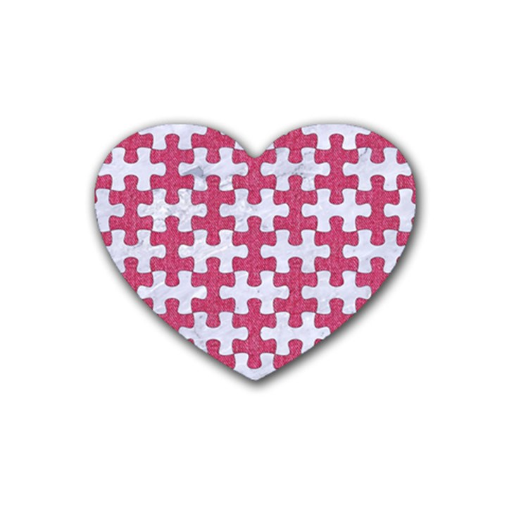 PUZZLE1 WHITE MARBLE & PINK DENIM Rubber Coaster (Heart)