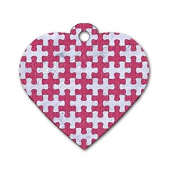 Puzzle1 White Marble & Pink Denim Dog Tag Heart (one Side)