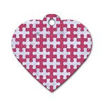 PUZZLE1 WHITE MARBLE & PINK DENIM Dog Tag Heart (Two Sides) Front