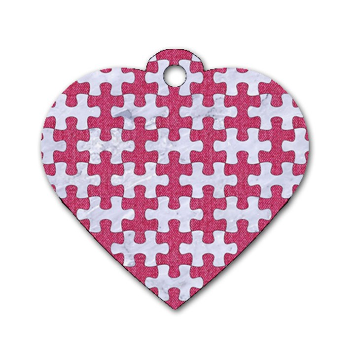 PUZZLE1 WHITE MARBLE & PINK DENIM Dog Tag Heart (Two Sides)