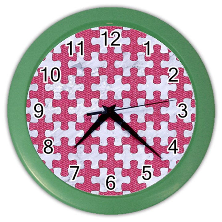 PUZZLE1 WHITE MARBLE & PINK DENIM Color Wall Clocks