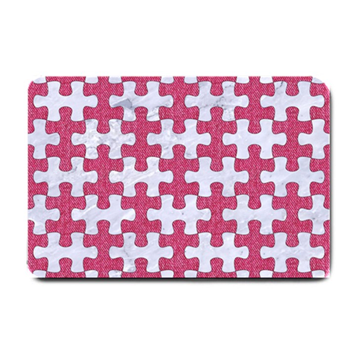 PUZZLE1 WHITE MARBLE & PINK DENIM Small Doormat