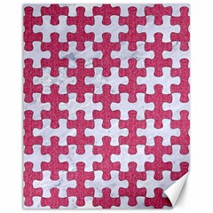 Puzzle1 White Marble & Pink Denim Canvas 11  X 14