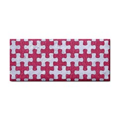 Puzzle1 White Marble & Pink Denim Hand Towel