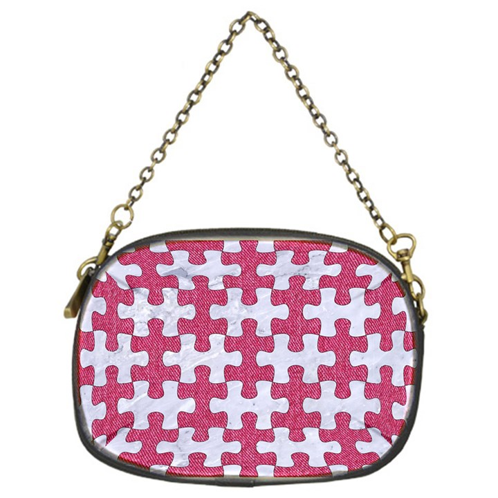 PUZZLE1 WHITE MARBLE & PINK DENIM Chain Purses (One Side)