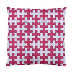 Puzzle1 White Marble & Pink Denim Standard Cushion Case (two Sides)