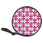PUZZLE1 WHITE MARBLE & PINK DENIM Classic 20-CD Wallets Front
