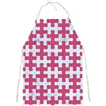 PUZZLE1 WHITE MARBLE & PINK DENIM Full Print Aprons Front