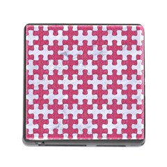 Puzzle1 White Marble & Pink Denim Memory Card Reader (square)