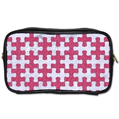 Puzzle1 White Marble & Pink Denim Toiletries Bags