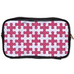 PUZZLE1 WHITE MARBLE & PINK DENIM Toiletries Bags Front