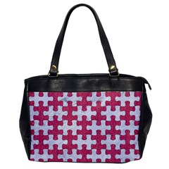 Puzzle1 White Marble & Pink Denim Office Handbags