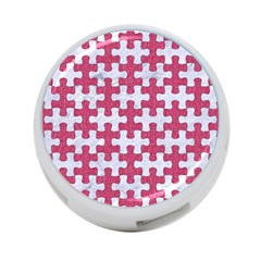 Puzzle1 White Marble & Pink Denim 4 Port Usb Hub (one Side)