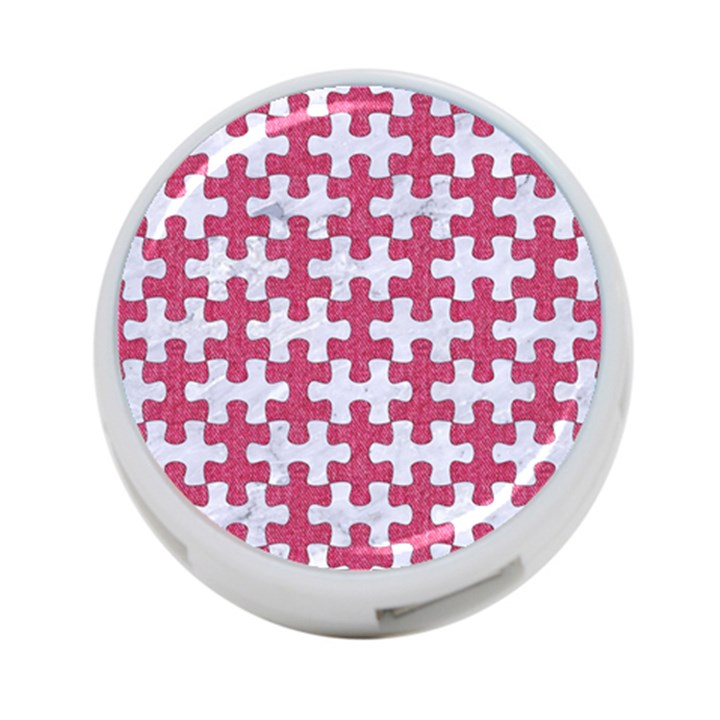 PUZZLE1 WHITE MARBLE & PINK DENIM 4-Port USB Hub (One Side)