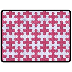 Puzzle1 White Marble & Pink Denim Fleece Blanket (large)