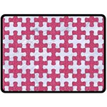 PUZZLE1 WHITE MARBLE & PINK DENIM Fleece Blanket (Large)  80 x60 Blanket Front