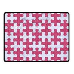 Puzzle1 White Marble & Pink Denim Fleece Blanket (small)
