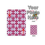 PUZZLE1 WHITE MARBLE & PINK DENIM Playing Cards 54 (Mini)  Front - Heart2