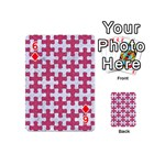 PUZZLE1 WHITE MARBLE & PINK DENIM Playing Cards 54 (Mini)  Front - Diamond6