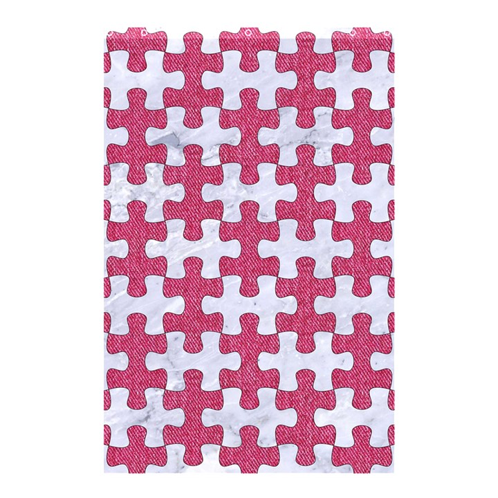 PUZZLE1 WHITE MARBLE & PINK DENIM Shower Curtain 48  x 72  (Small)