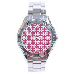 Puzzle1 White Marble & Pink Denim Stainless Steel Analogue Watch