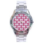 PUZZLE1 WHITE MARBLE & PINK DENIM Stainless Steel Analogue Watch Front