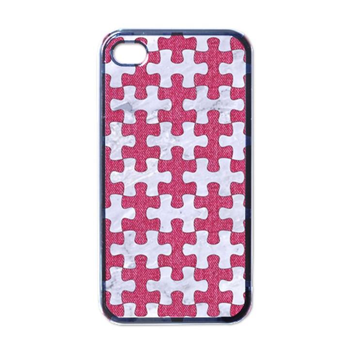 PUZZLE1 WHITE MARBLE & PINK DENIM Apple iPhone 4 Case (Black)