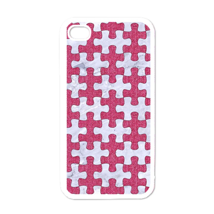 PUZZLE1 WHITE MARBLE & PINK DENIM Apple iPhone 4 Case (White)