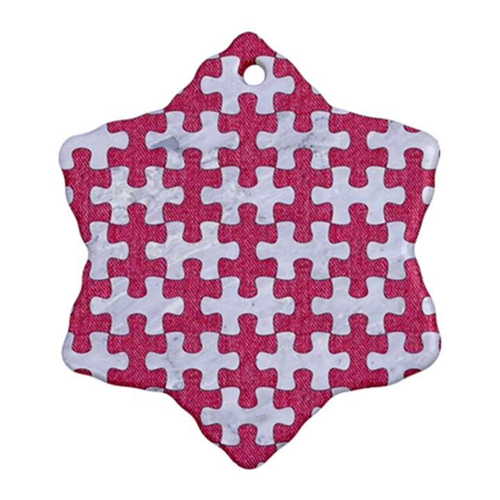 PUZZLE1 WHITE MARBLE & PINK DENIM Snowflake Ornament (Two Sides)