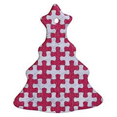 Puzzle1 White Marble & Pink Denim Christmas Tree Ornament (two Sides)