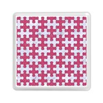 PUZZLE1 WHITE MARBLE & PINK DENIM Memory Card Reader (Square)  Front