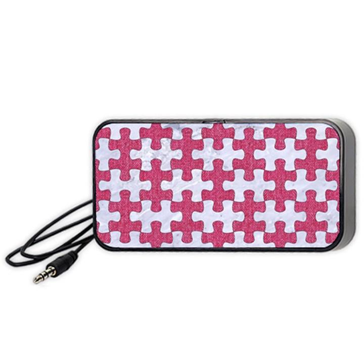 PUZZLE1 WHITE MARBLE & PINK DENIM Portable Speaker
