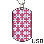 PUZZLE1 WHITE MARBLE & PINK DENIM Dog Tag USB Flash (Two Sides) Front