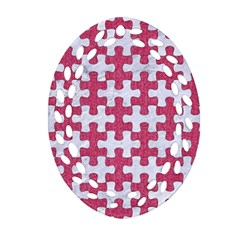 Puzzle1 White Marble & Pink Denim Oval Filigree Ornament (two Sides)