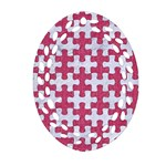 PUZZLE1 WHITE MARBLE & PINK DENIM Oval Filigree Ornament (Two Sides) Front