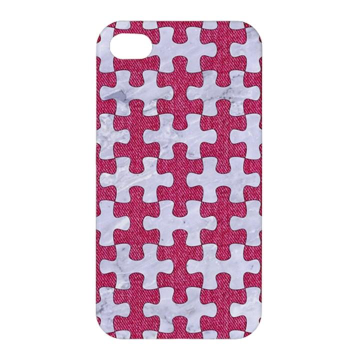 PUZZLE1 WHITE MARBLE & PINK DENIM Apple iPhone 4/4S Premium Hardshell Case